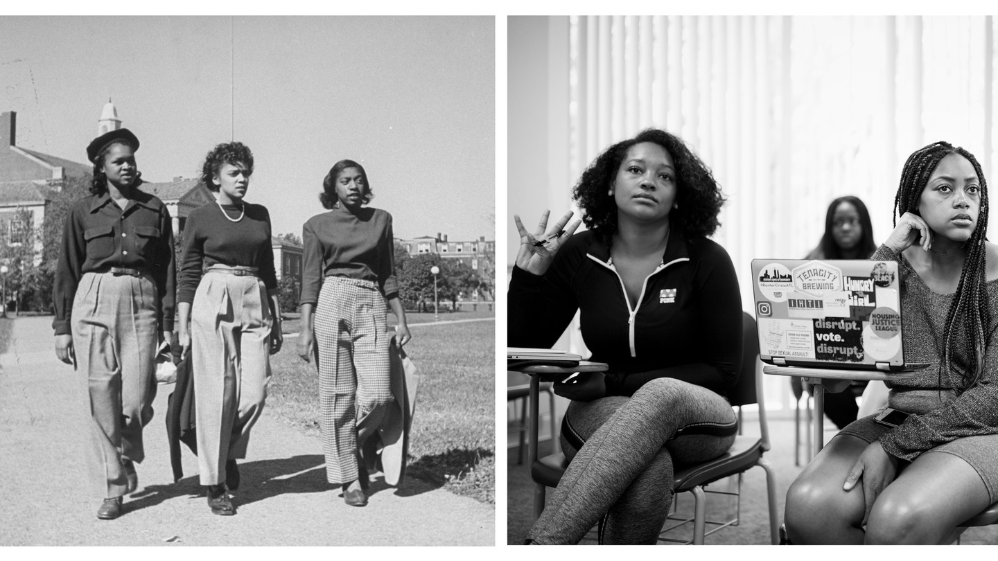 Left: Three students walk on campus at Howard University; Right: two students in class at Spelman College