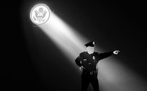 An illustration of a police officer with a spotlight on them.
