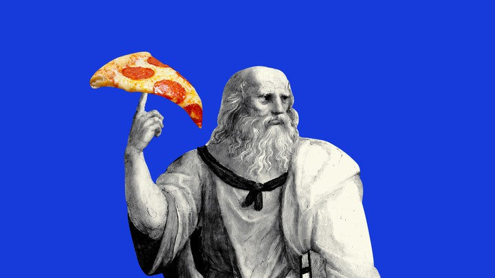 An illustration of Plato holding a slice of pizza