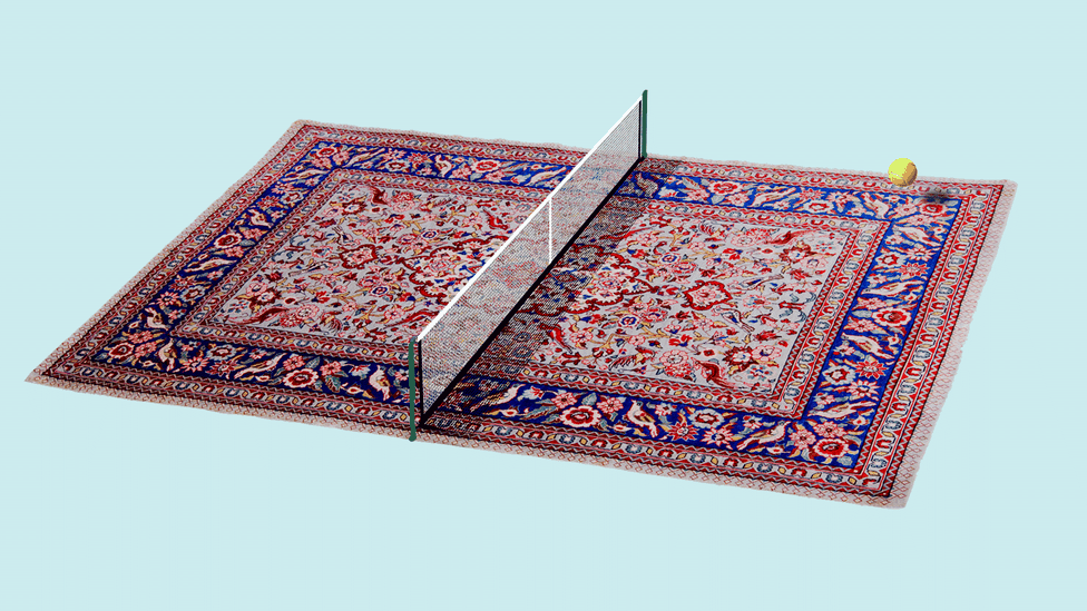 an illustration of a tennis net and ball above a carpet.