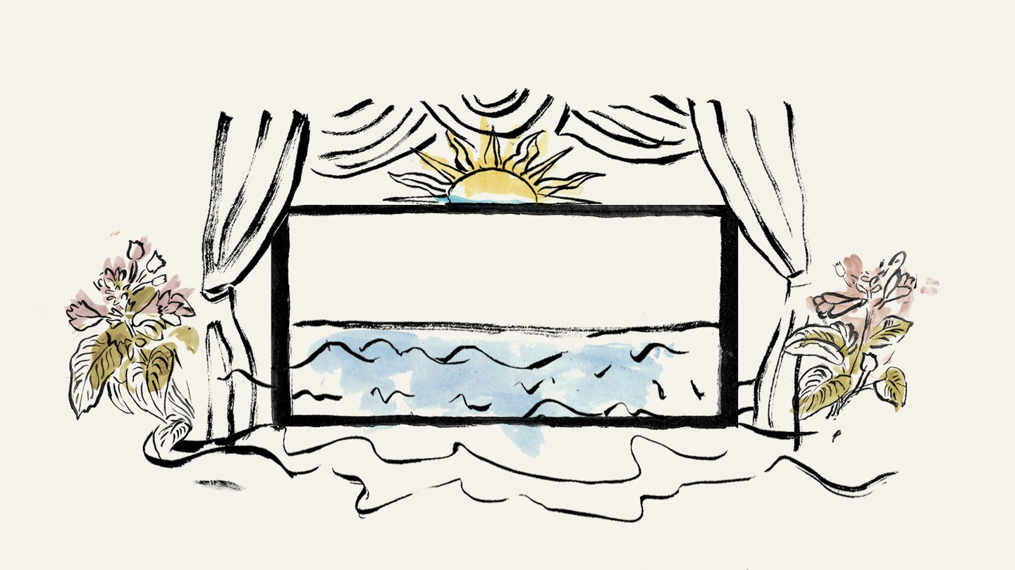 An illustration of a window open to the sea, with flowers on each side