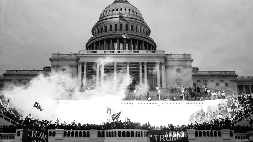 The U.S. Capitol surrounded by Trump supporters