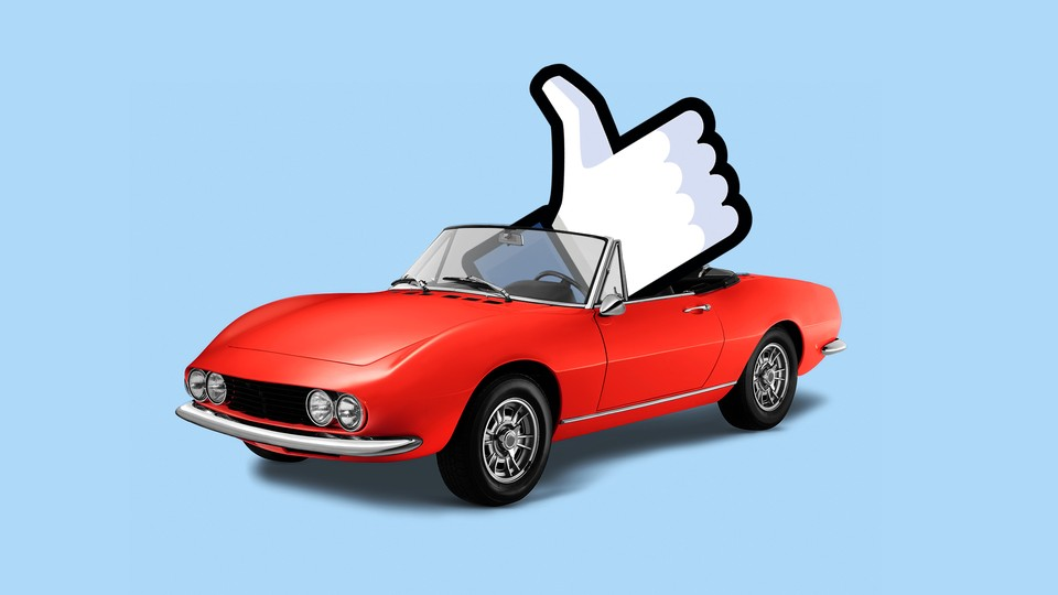"""Illustration of the Facebook """"like"""" button in a convertible car."""