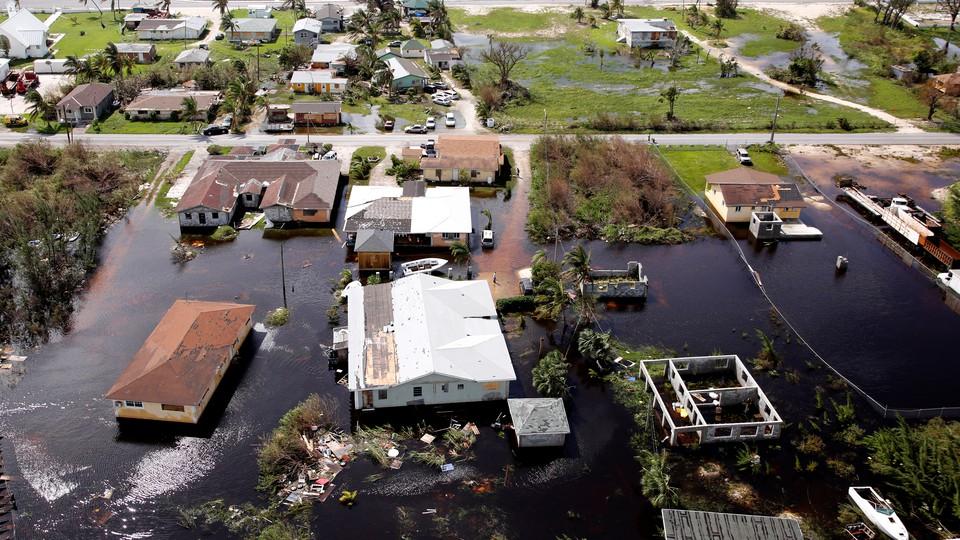 A flooded community on Grand Bahama