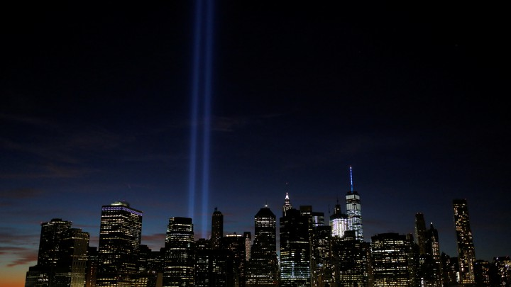 The New York City skyline at night