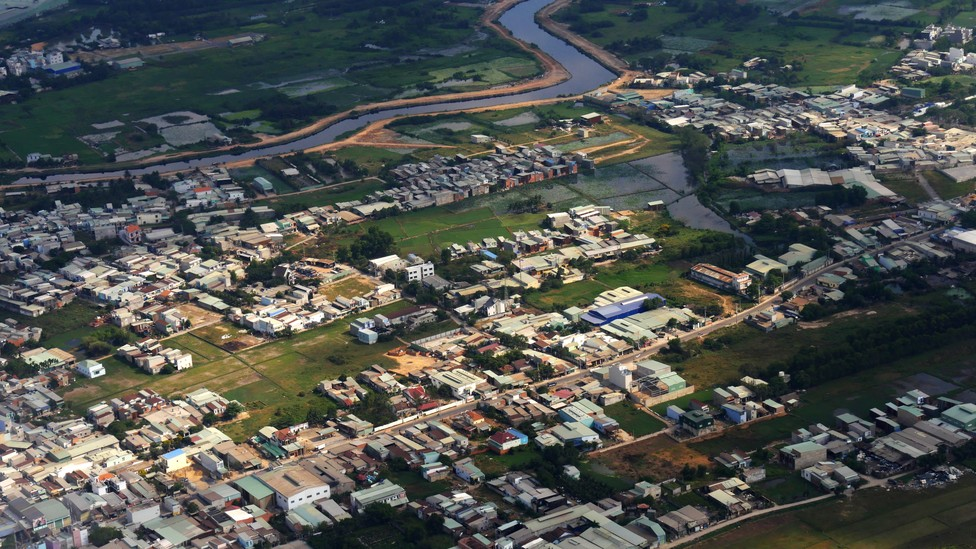 An aerial view of the outskirts of Ho Chi Minh City