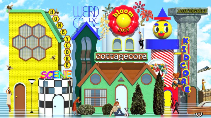 A collage of a city made up of different aesthetics and their names: cottagecore, kidcore, honeycore, weirdcore, bloomcore, academia, and scene