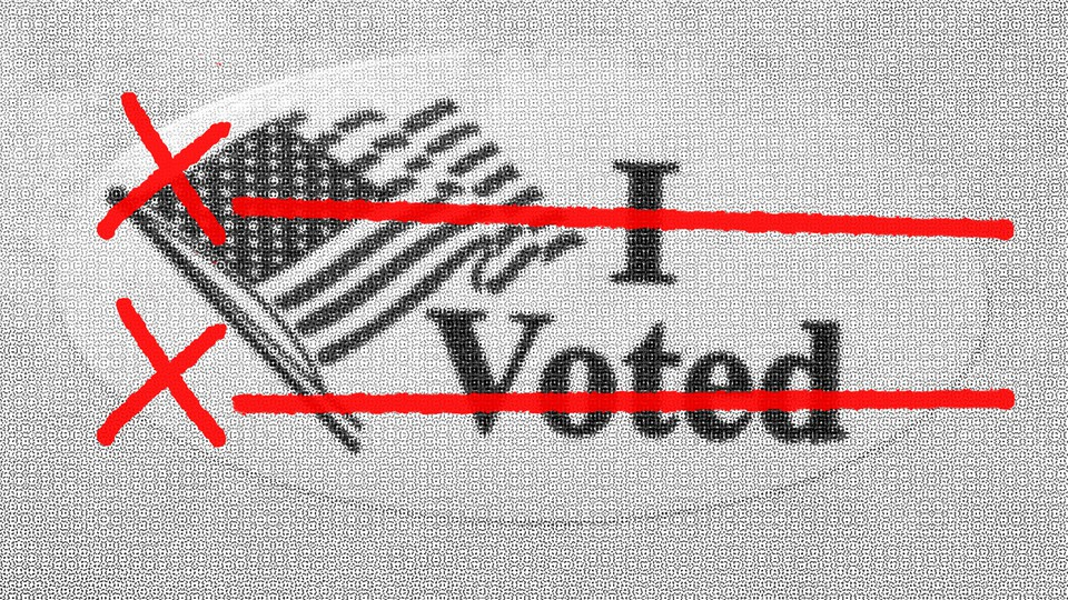 """An illustration of an """"I Voted"""" sticker with two signature lines"""