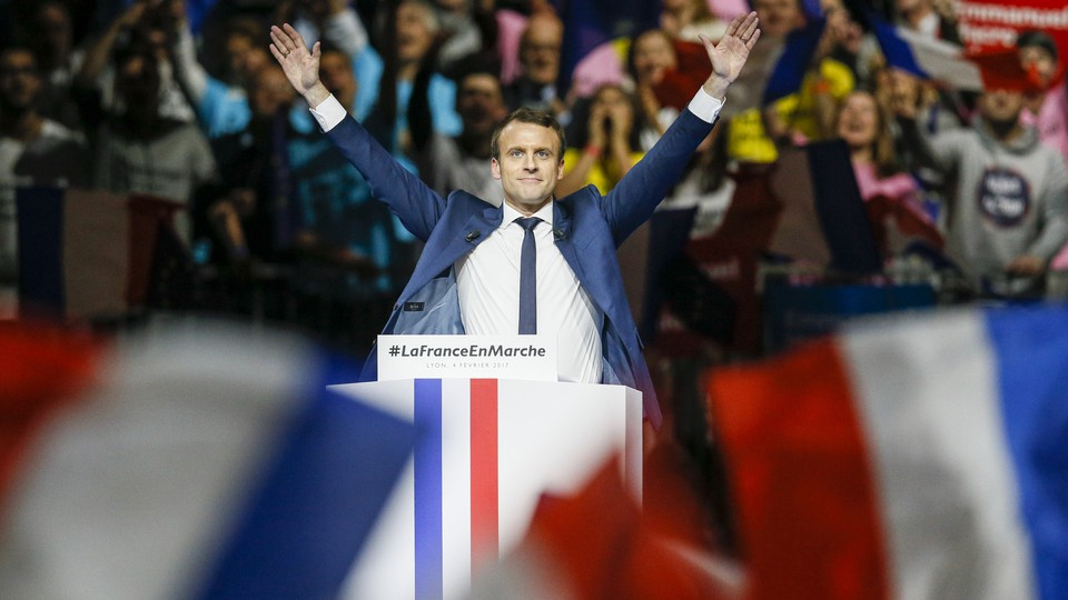 Emmanuel Macron delivers a speech during a campaign rally in Lyon, France onFebruary 4, 2017.