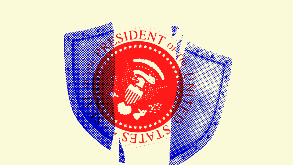An illustration of the seal of the President of the United States covered by a broken shield