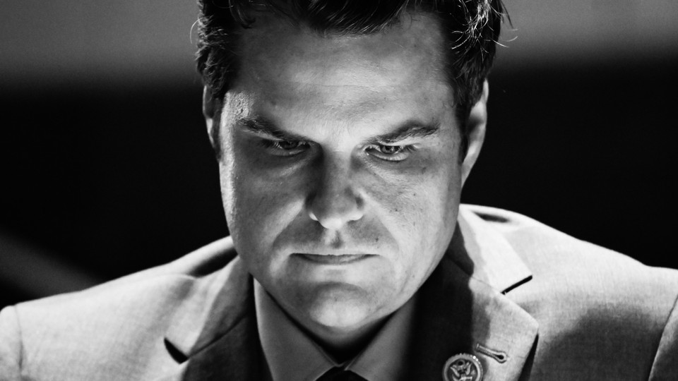 Black and white photo of Matt Gaetz