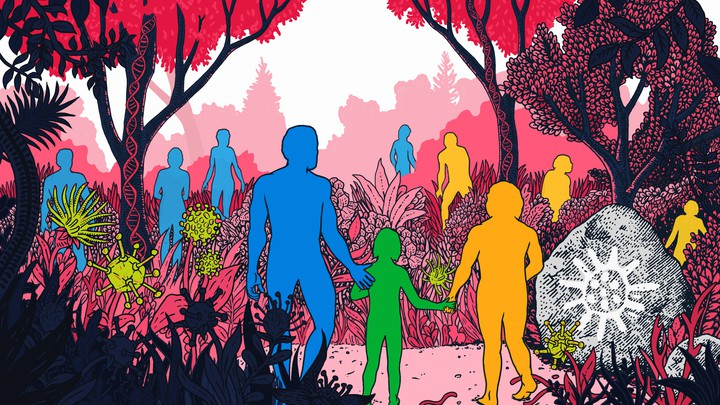 An illustration of humanoid figures navigating a landscape with giant microbes and strands of DNA