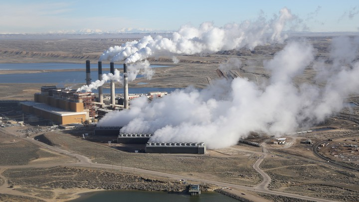 Steam rises from the coal-fired Jim Bridger power plant outside Rock Springs, Wyoming, U.S.