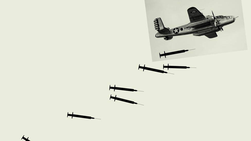 An illustration of an airplane dropping vaccines.
