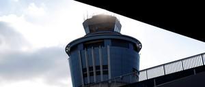 An air traffic control tower at Laguardia Airport.