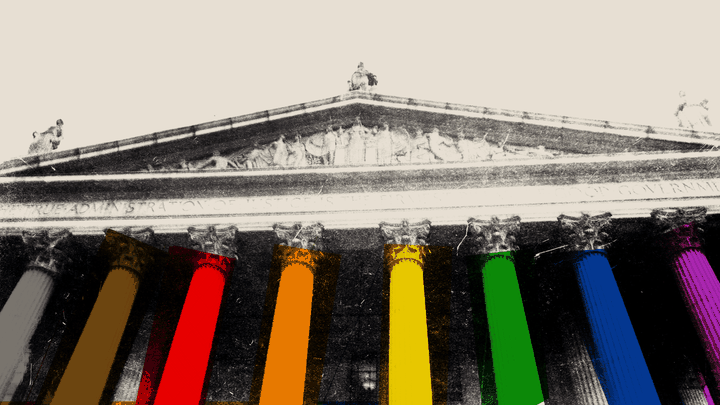 An illustration of the Supreme Court with rainbow colored columns.