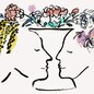 An illustration of two faces close together, the space between them forming the shape of a vase, with colorful flowers splaying out