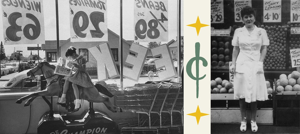 left: photo from 1958 supermarket; right: Mary Glickburg