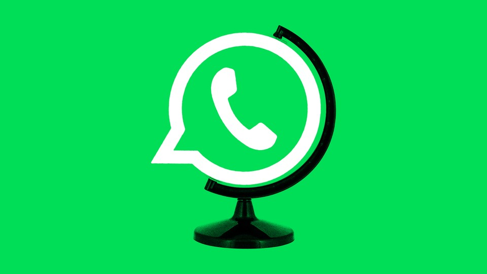An image of the WhatsApp logo as a globe
