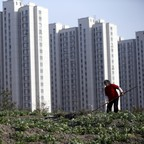 Farmers work on a farm near a construction site of new residential buildings in Shanghai in 2016
