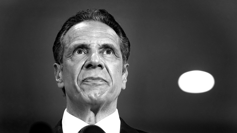 A black-and-white photograph of Andrew Cuomo