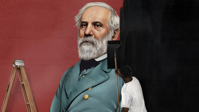 A man rolling black paint over a mural of Robert E. Lee