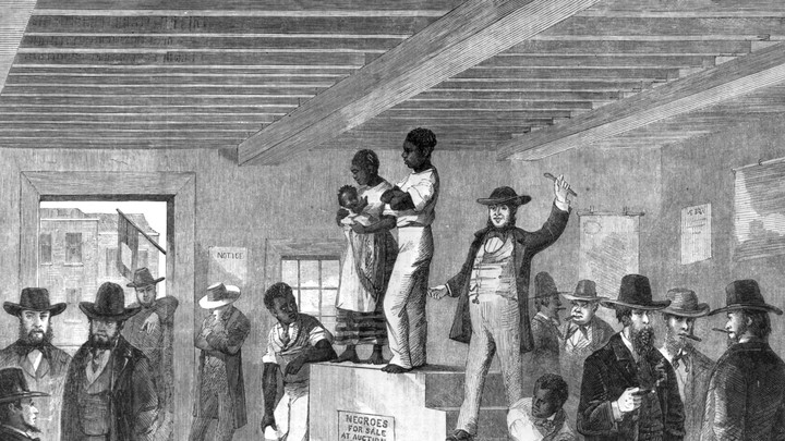 An engraving of a slave auction in Charleston, South Carolina