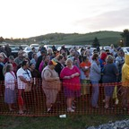 Hundreds of people line up in the early morning to attend a free clinic in Smyth County, Virginia, in 2016.