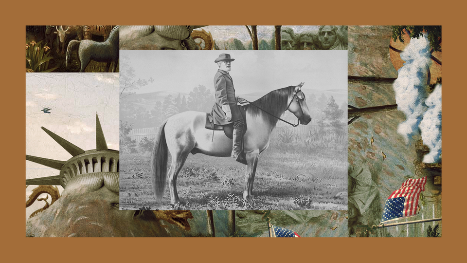 A lithograph of Confederate General Robert E. Lee on his horse Traveller.