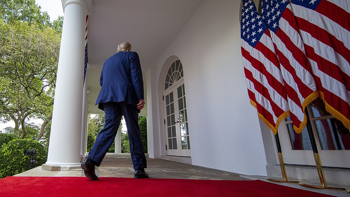 Trump walking away from the camera