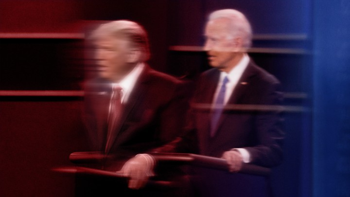 Trump and Biden, but blurry