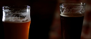 A photograph of two beers