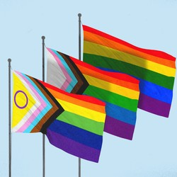 A graphic of three different versions of the Pride flag flying together against a light-blue backdrop
