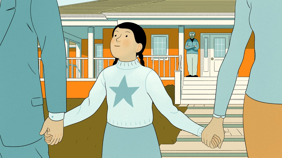An illustration of a girl holding hands with her parents while her grandmother looks on from the distance.