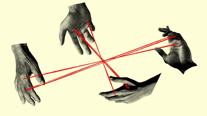 An illustration of hands with string