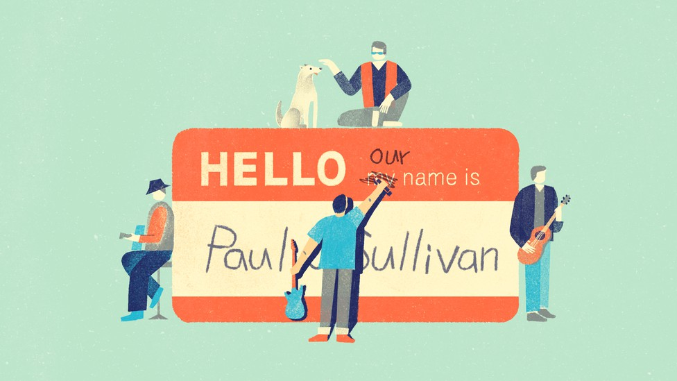 """A graphic showing the four Paul O'Sullivans sitting near a giant name tag. One of the Paul O'Sullivans is crossing off the word """"my"""" and writing """"our,"""" so that the name tag now reads, """"Hello, our name is Paul O'Sullivan."""""""