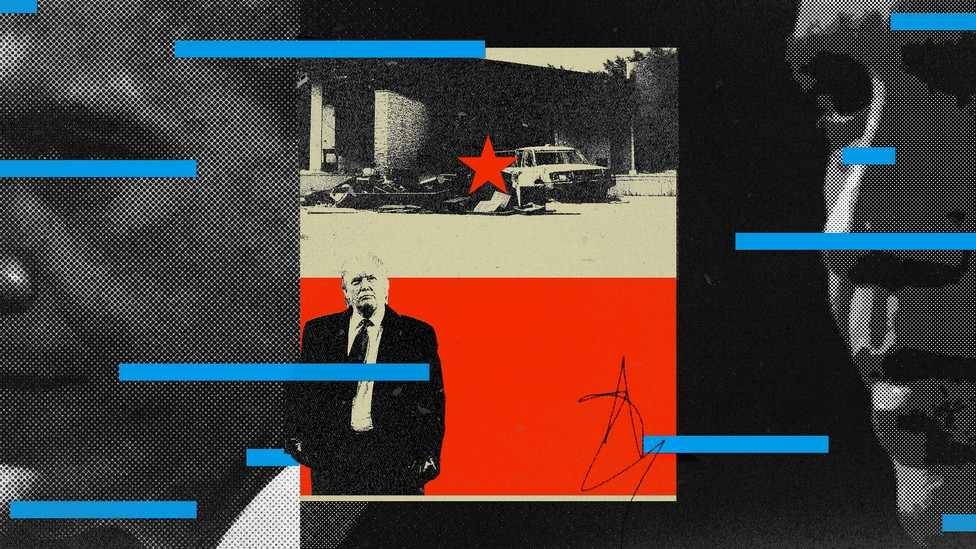 An illustration of Donald Trump, Benghazi, and Ben Rhodes