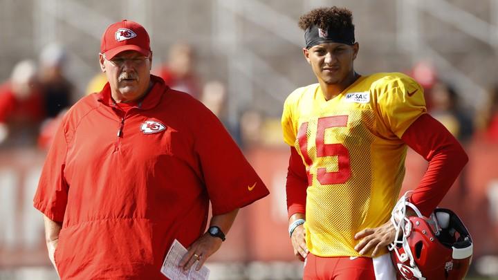Kansas City Chiefs quarterback Patrick Mahomes and coach Andy Reid.