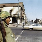 A National Guardsman at the corner of 4th and H Streets in northeast Washington, D.C. on April 6., 1968.