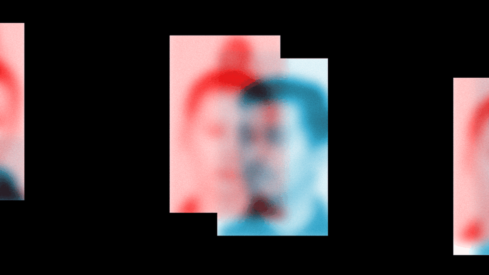 An illustration of TikTok images in red and blue