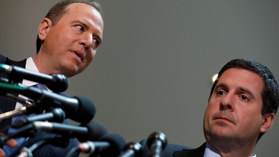 Devin Nunes and Adam Schiff speak to the media.