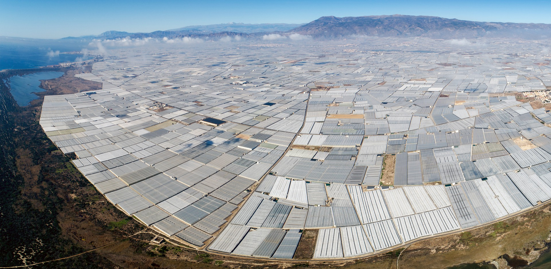 An aerial photo of greenhouses in Almería, Spain