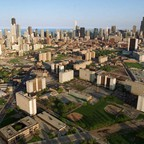 Cabrini-Green, foreground and mid-photo, seen against the Chicago skyline in 1996
