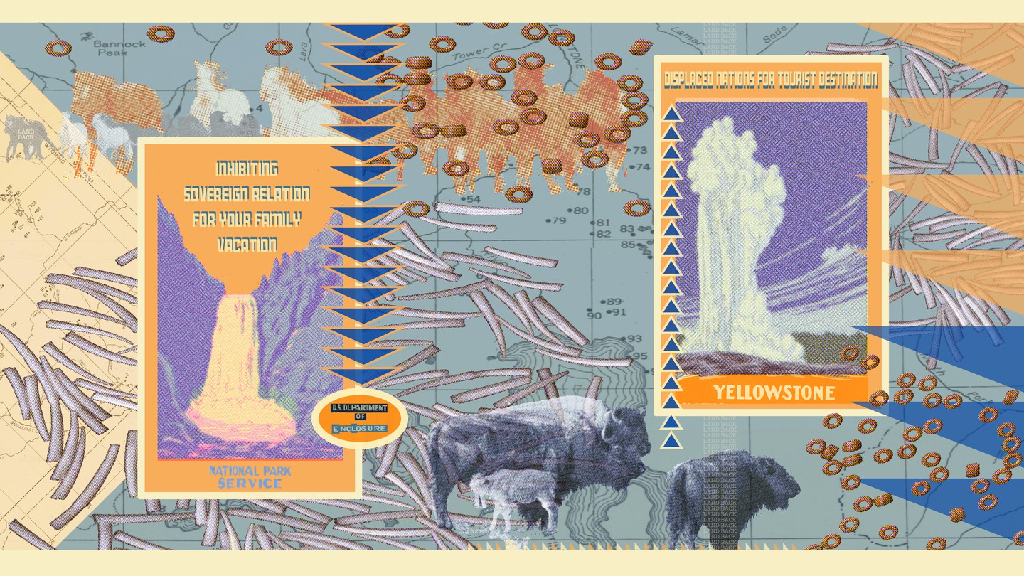 A collage with old Yellowstone posters and bison