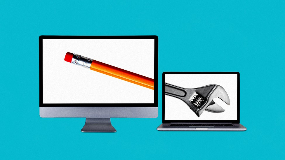 A collage image of two computers; the one on the left shows the eraser-end of a pencil, and the one on the right shows the head of a wrench