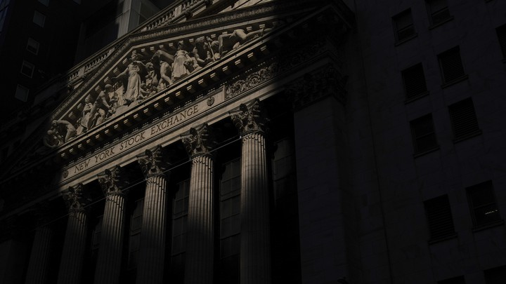 New York Stock Exchange shrouded in shadows