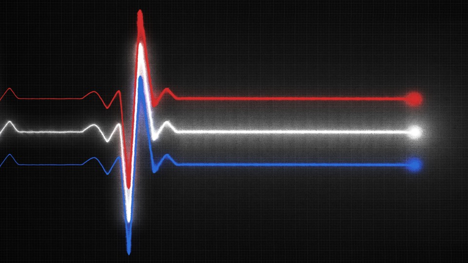 An illustration of a heart EKG reading in red, white, and blue.