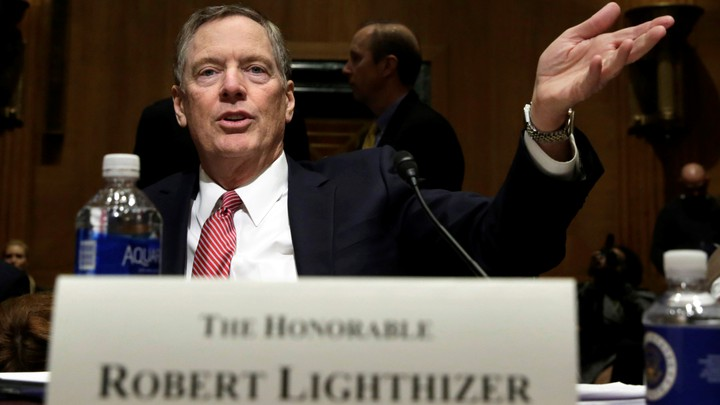Robert Lighthizer gestures before a Senate Finance Committee confirmation hearing.