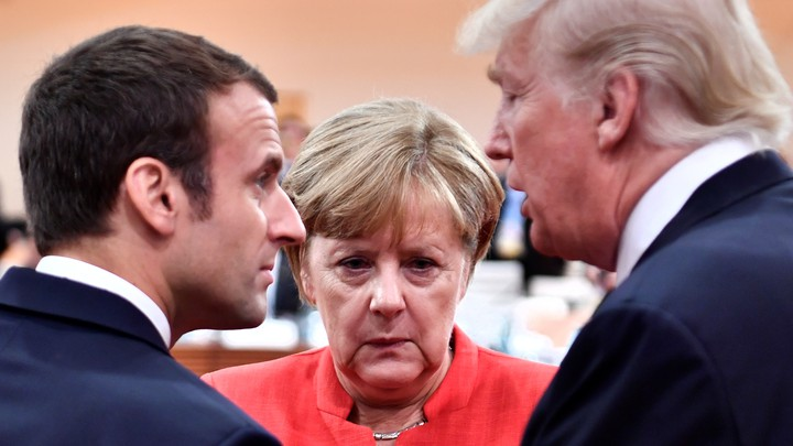 Angela Merkel, Emmanuel Macron, and Donald Trump are more and more at odds on international affairs.