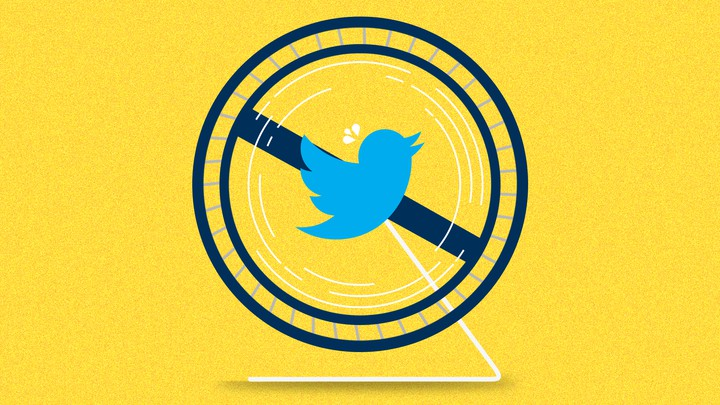 The Twitter logo in the middle of a hamster wheel